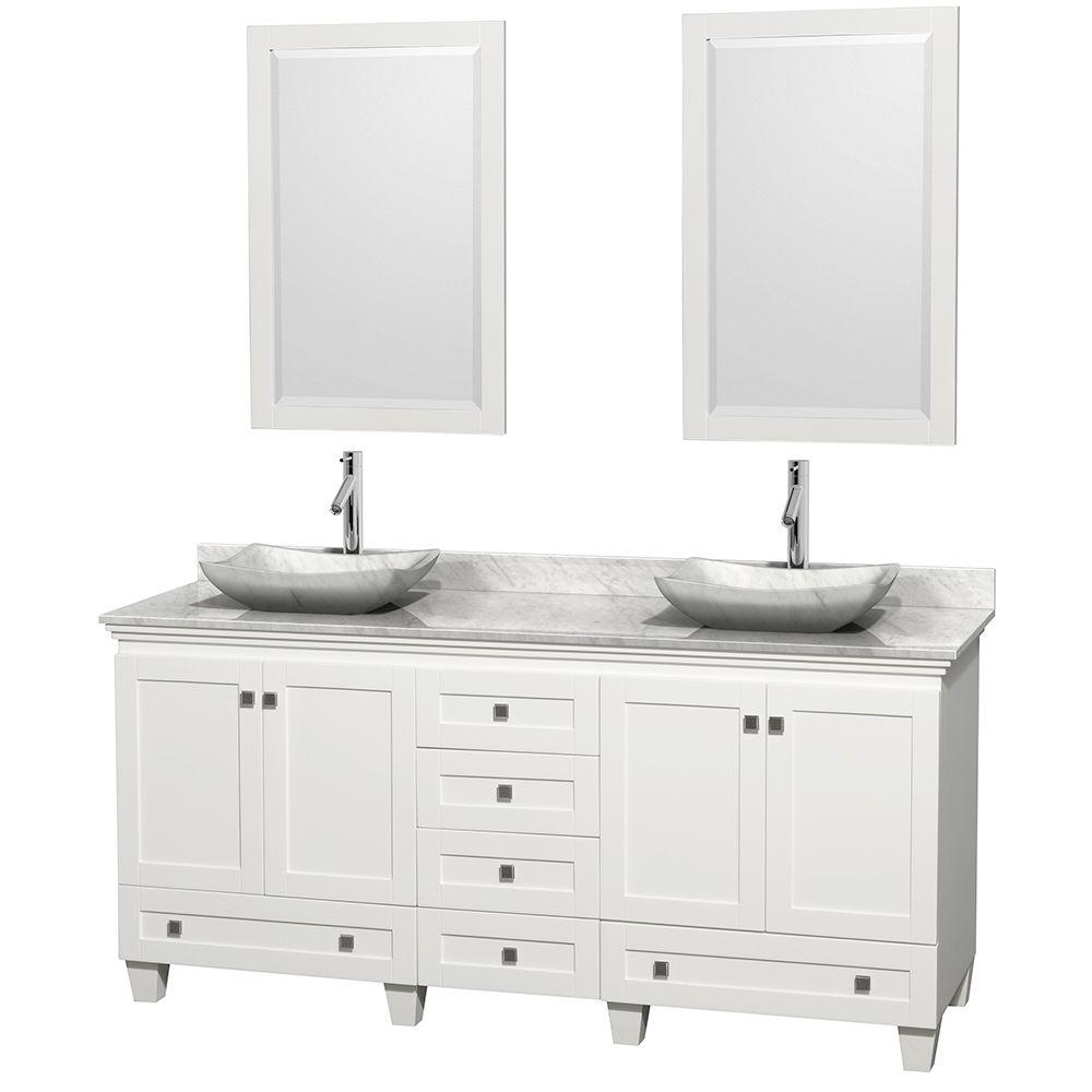 Wyndham Collection Acclaim 72 in. W Double Vanity in White with Marble Vanity Top in Carrara White, White Carrara Sinks and 2 Mirrors