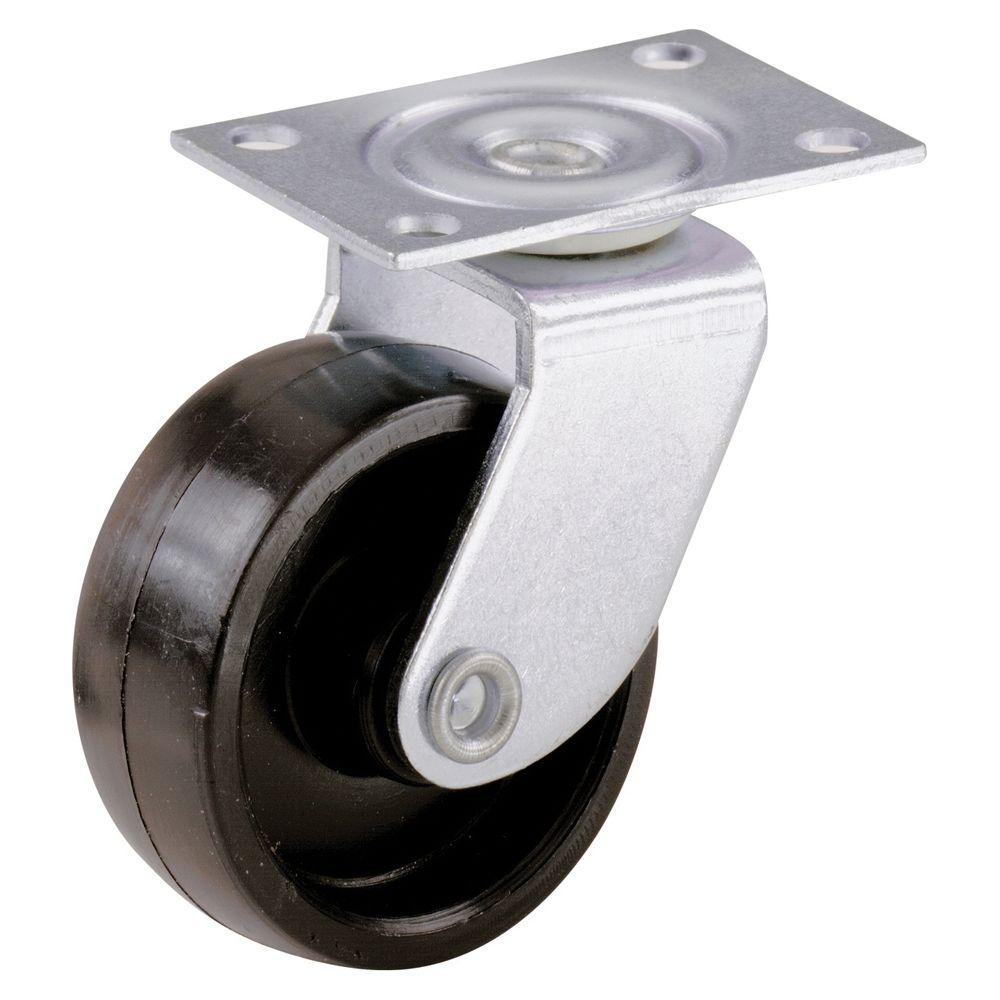 1-5/8 in. Plastic Swivel Plate Casters with 50 lb. Load Rating