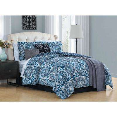 Emeline 12-Piece Teal King Comforter Set with Throw