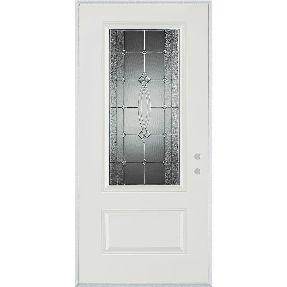 Stanley Doors 33.375 in. x 82.375 in. Diamanti Zinc 3/4 Lite 1-Panel Painted White Left-Hand Inswing Steel Prehung Front Door