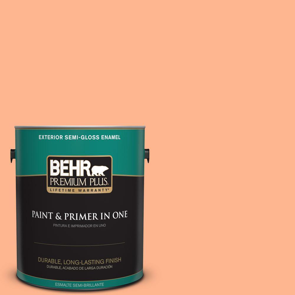 BEHR Premium Plus 1-gal. #230B-4 Desert Sunrise Semi-Gloss Enamel Exterior Paint