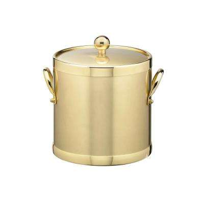 Americano 3 Qt. Brushed Brass Ice Bucket and Lid with Metal Side Handles