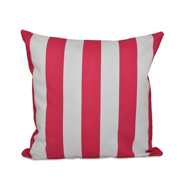 undefined Classic Fuchsia Striped 16 in. x 16 in. Throw Pillow