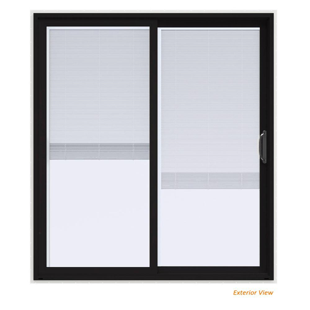 72 in. x 80 in. V-4500 Contemporary Black Paint Vinyl Right-Hand Full Lite Sliding Patio Door w/White Interior & Blinds