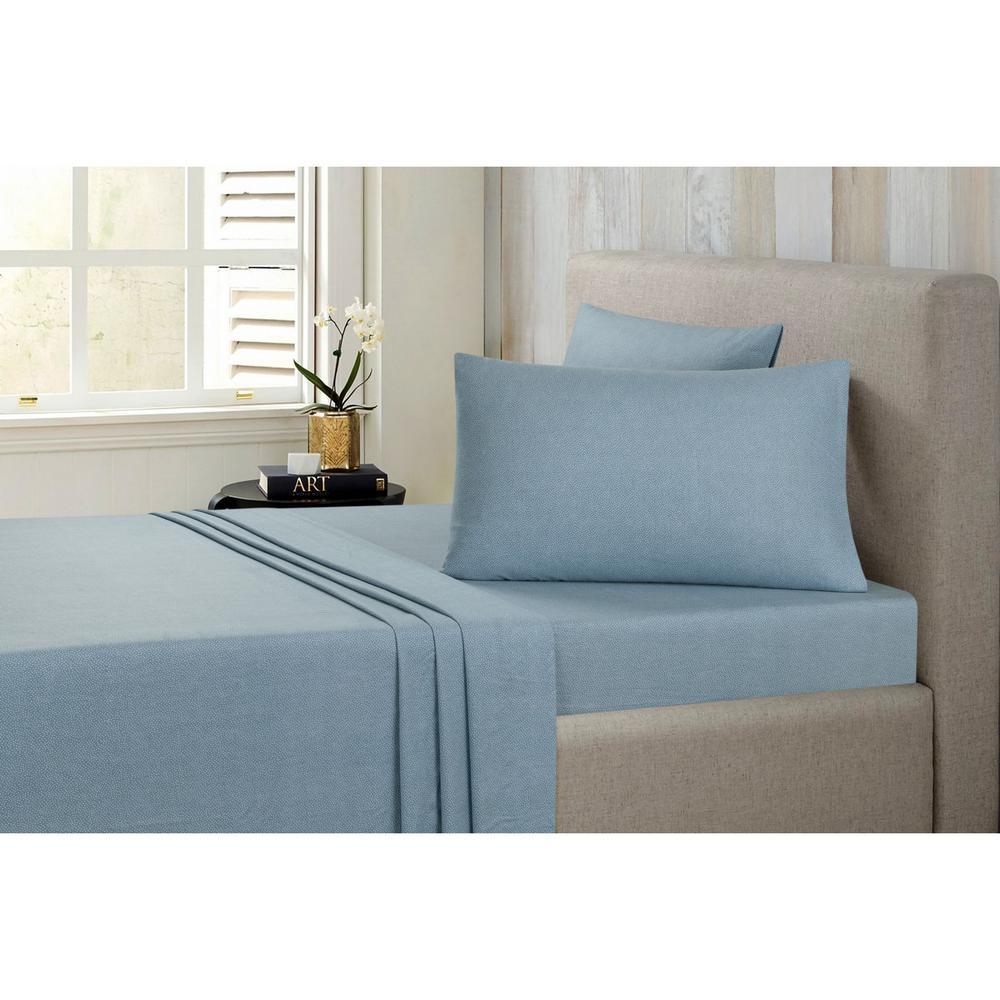 Small Dot Cotton-Flannel Blue Queen Sheet Set