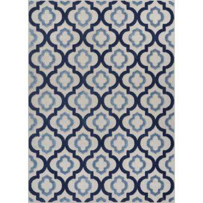 Dorado Illuminate 7 ft. 10 in. x 9 ft. 10 in. Modern Geometric Trellis Blue High-Low Indoor/Outdoor Area Rug