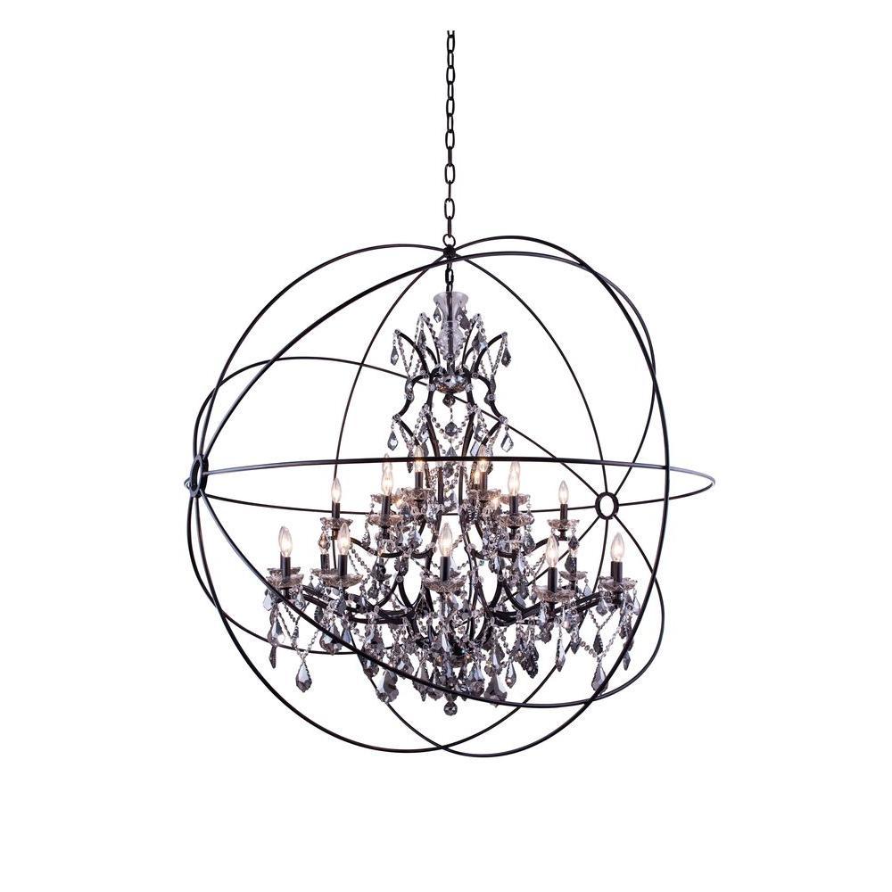 Geneva 25-Light Dark Bronze Chandelier with Silver Shade Grey Crystal
