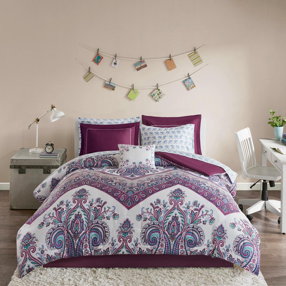 Layne 7-Piece Purple Twin XL Comforter Set