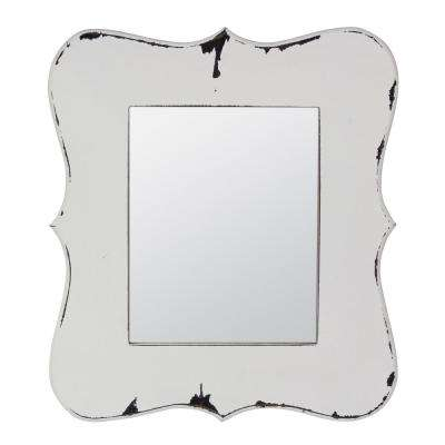 Worn White Wooden Decorative Hanging Wall Mirror