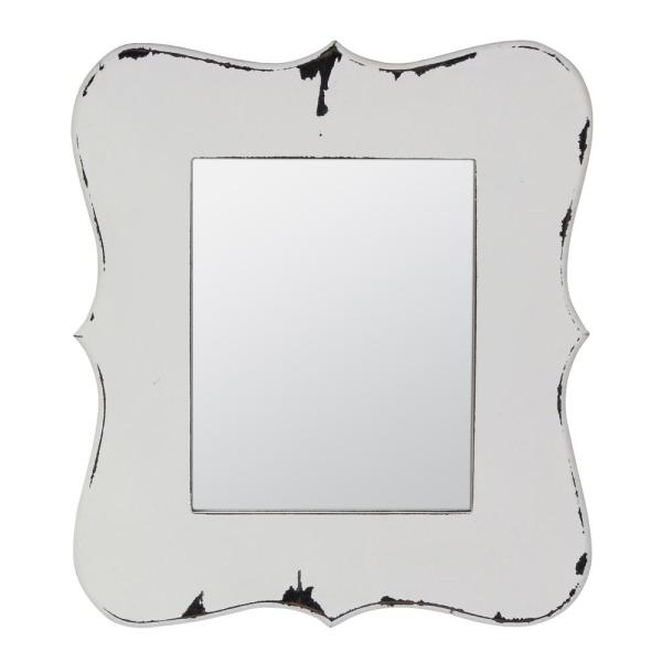 Small Rectangle White Antiqued American Colonial Mirror (15.94 in. H x 13.976 in. W)