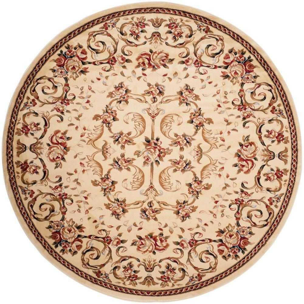 safavieh lyndhurst ivory 5 ft 3 in x 5 ft 3 in round area rug lnh327a 5r the home depot. Black Bedroom Furniture Sets. Home Design Ideas