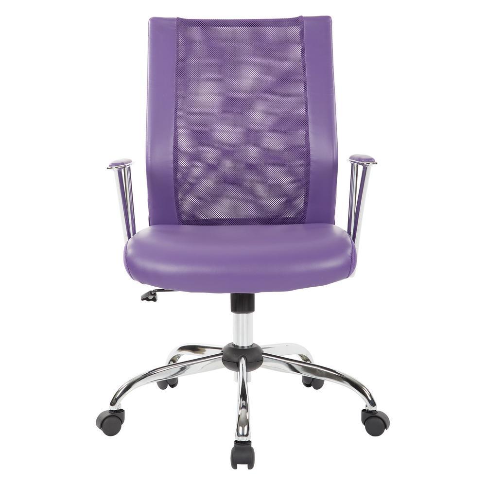 Bridgeway Purple Woven Mesh Office Chair And Chrome Base