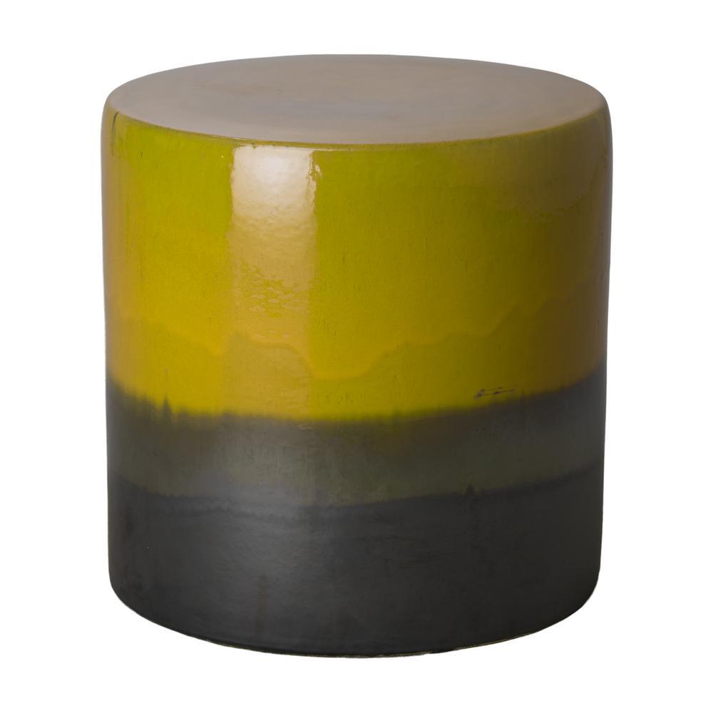 Stout 2-Tone Mustard Yellow Round Ceramic Garden Stool