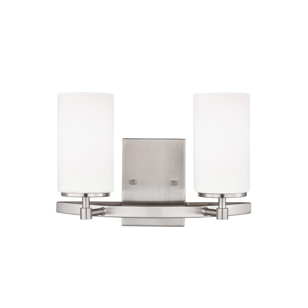 Sea gull lighting alturas 2 light brushed nickel vanity light with sea gull lighting alturas 2 light brushed nickel vanity light with led bulb mozeypictures Images