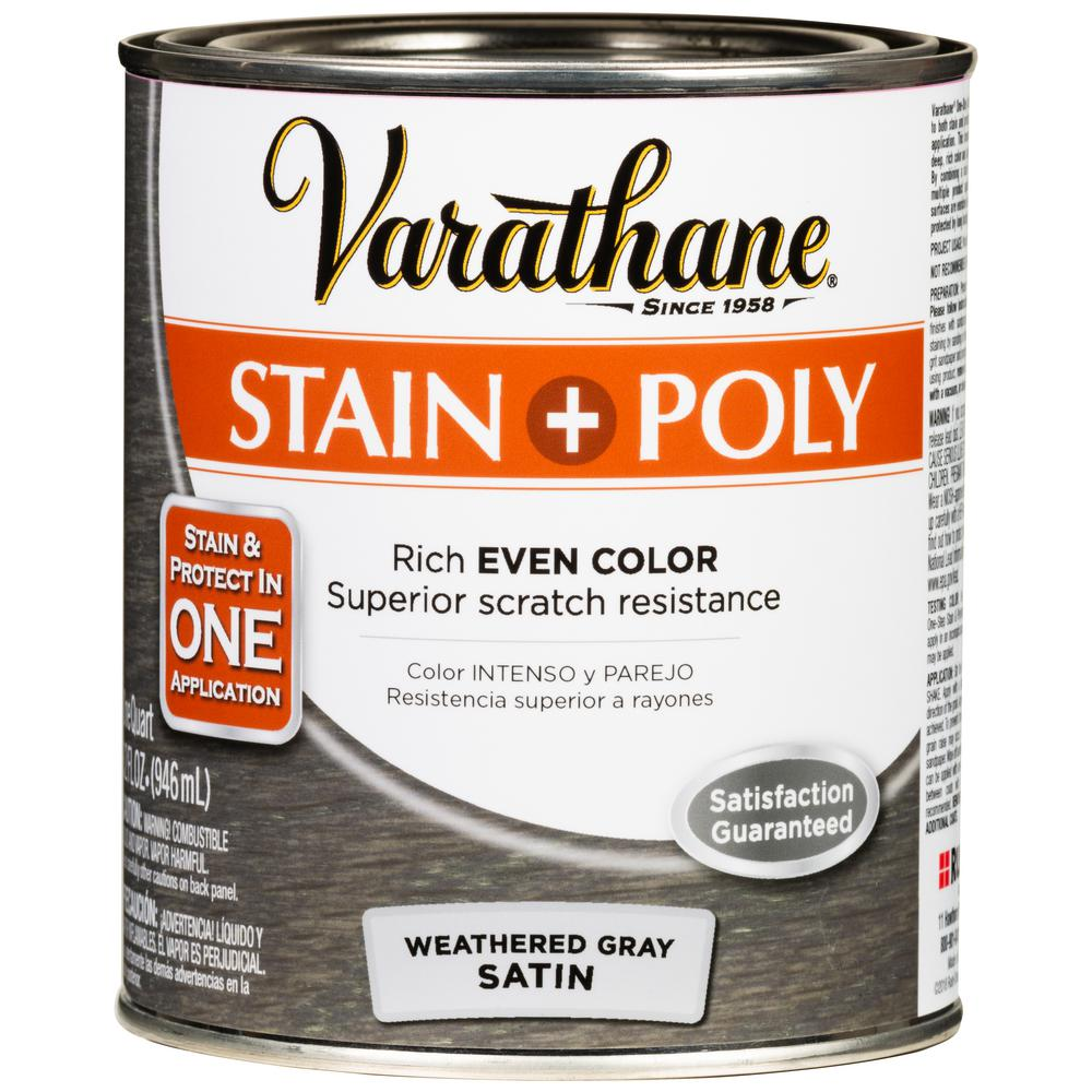 Varathane 1 qt. Weathered Gray Satin Oil-Based Interior Wood Stain and Polyurethane (2 Pack)