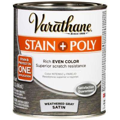 1 qt. Weathered Gray Satin Oil-Based Interior Wood Stain and Polyurethane (2 Pack)