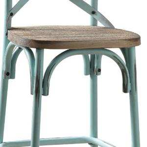 Excellent 14 In Antique Turquoise Wood And Metal Bar Height Chair With X Style Panel Back Cjindustries Chair Design For Home Cjindustriesco