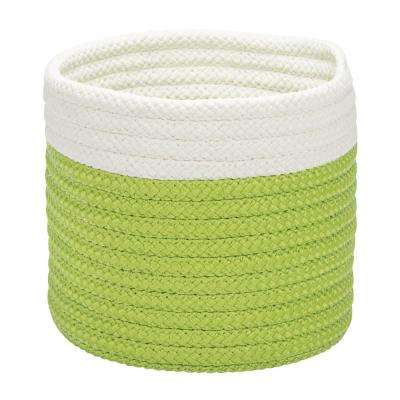 10 in. x 10 in. x 8 in. Bright Green Dipped Mini Round Polypropylene Basket