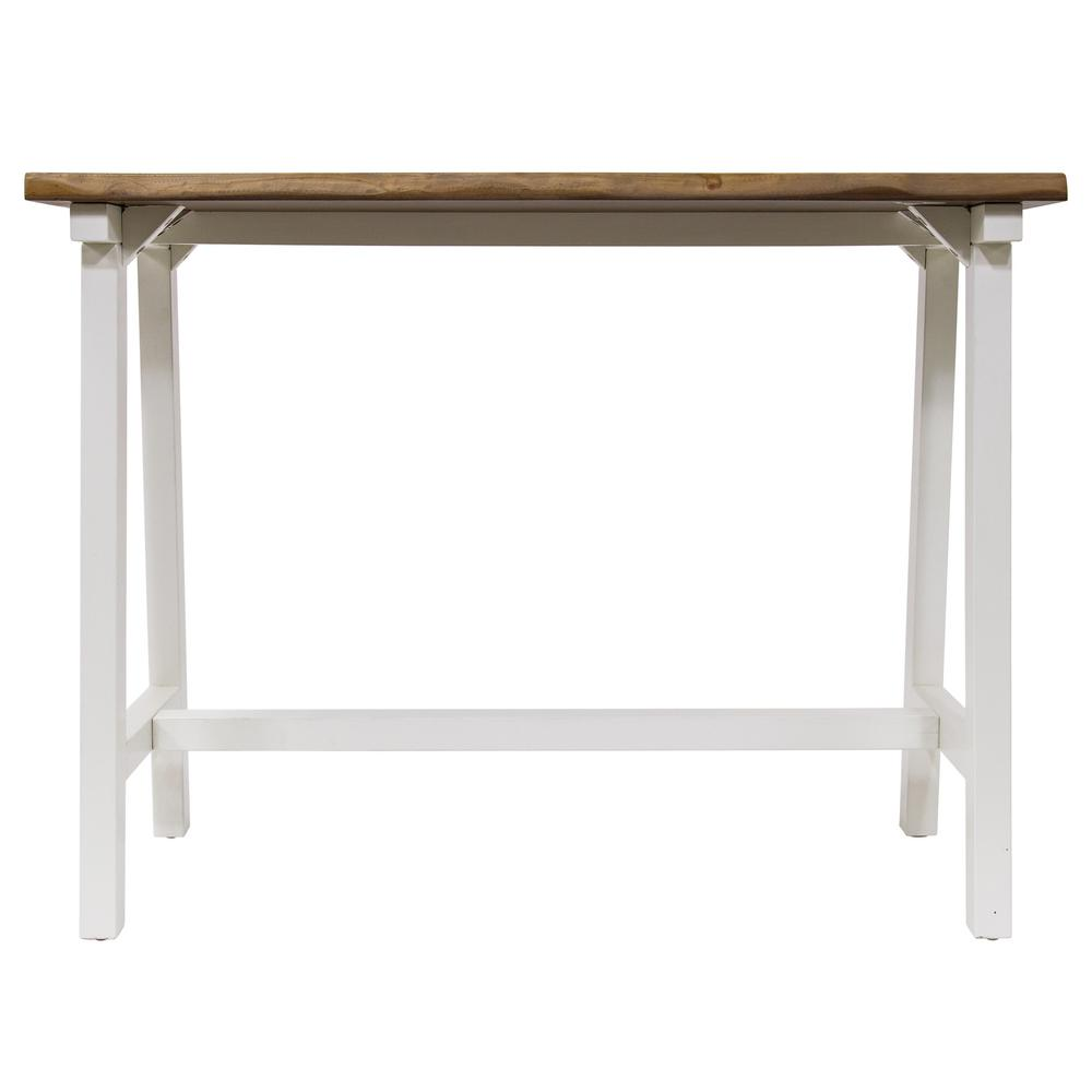 Yosemite Home Decor Zealand Trestle White/Natural Console Table