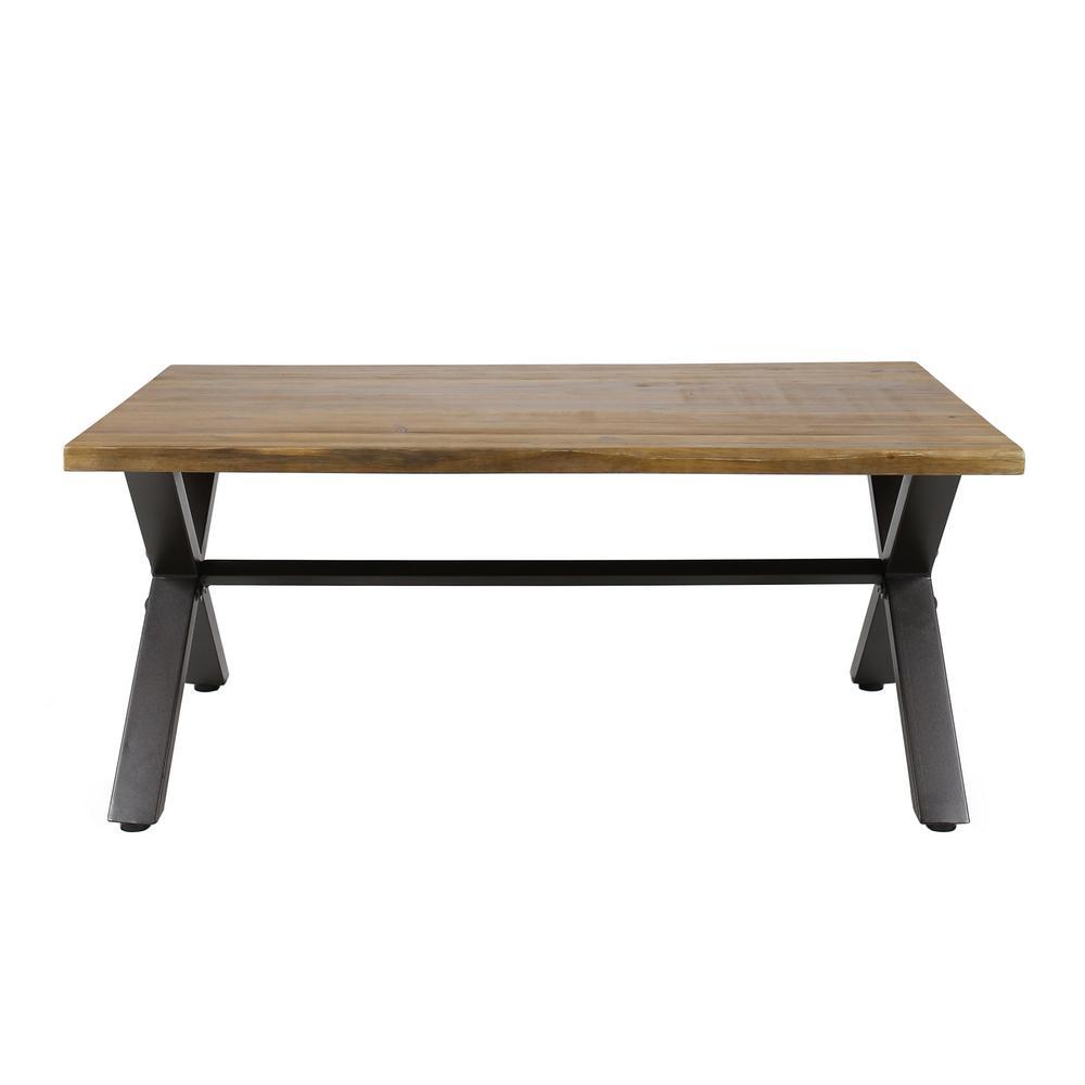 Sanibel Rustic Metal Frame Rectangular Teak Brown Wood Outdoor Coffee Table