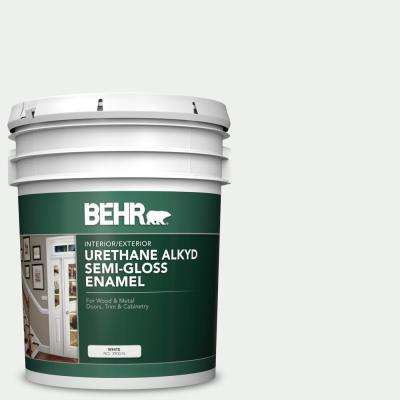 Behr 5 Gal 57 Frost Urethane Alkyd Semi Gloss Enamel Interior Exterior Paint 390005 The Home Depot