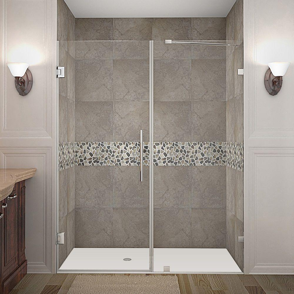 Nautis 60 in. x 72 in. Frameless Hinged Shower Door in
