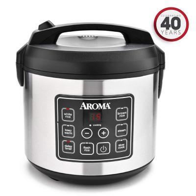 20-Cup Silver Rice Cooker with Food Steamer and Slow Cooker Functions