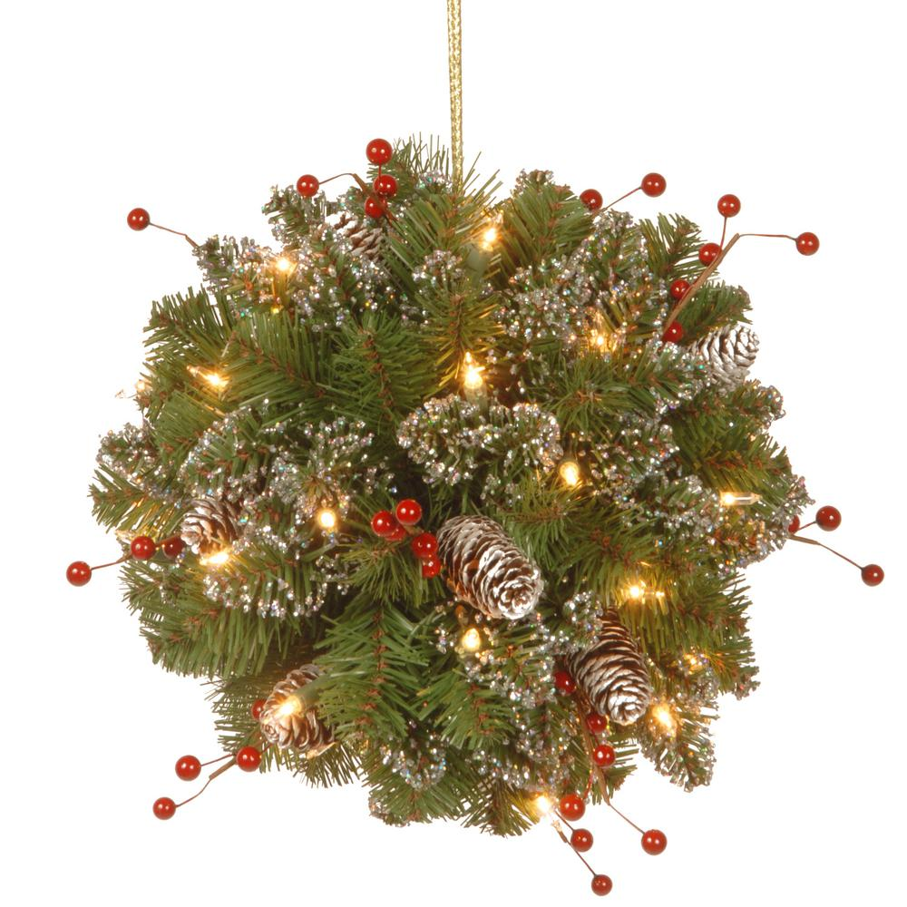 12 in. Glittery Mountain Spruce Kissing Ball with Battery Operated Warm