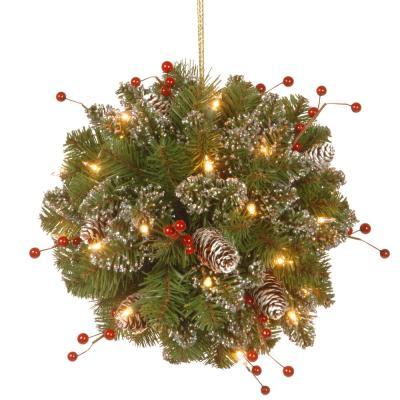 12 in. Glittery Mountain Spruce Kissing Ball with Battery Operated Warm White LED Lights