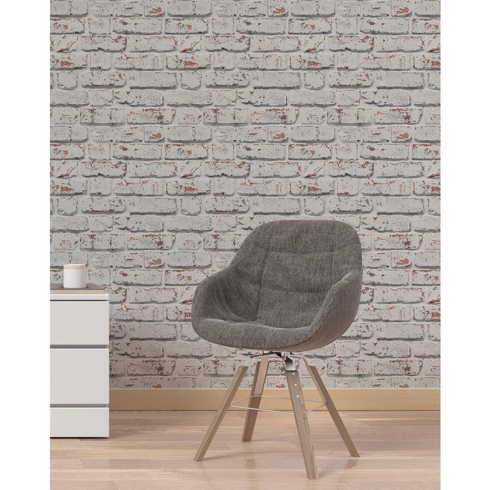 White Rustic Brick Wallpaper