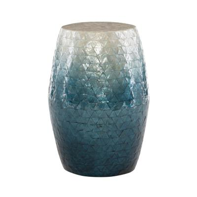 Jaynie Blue Ombre Capiz mosaic Drum Table