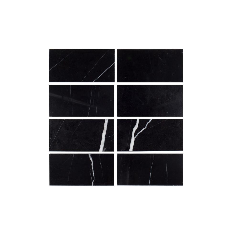 Nero Marquina Black 3 in. x 6 in. Polished Marble Floor