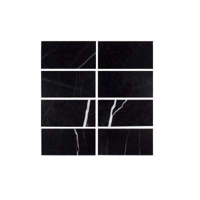 3 in. x 6 in. Nero Marquina Polished Marble Field Wall Tile (8-pieces / pack)