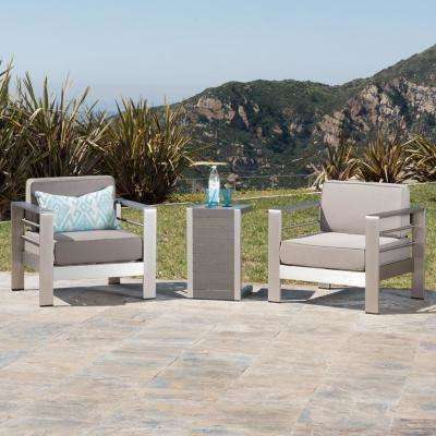 Cape Coral Sliver 3-Piece Aluminum Patio Conversation Set with Khaki Cushions