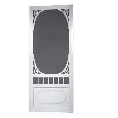 36 in. x 80 in. Belle Harbour Solid Vinyl White Screen Door