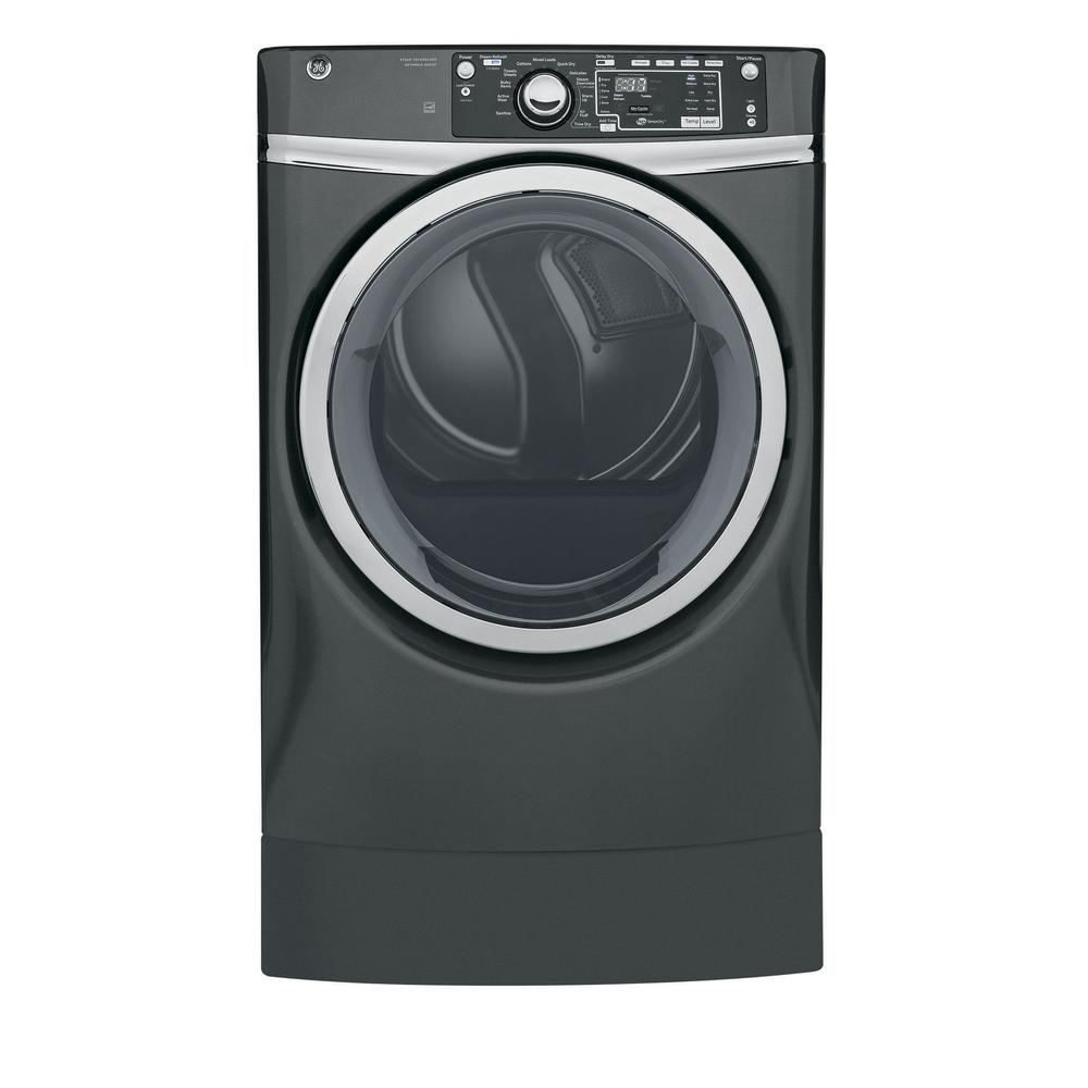 GE 8.3 cu. ft. 240 Volt Diamond Gray Electric Vented Dryer with ...