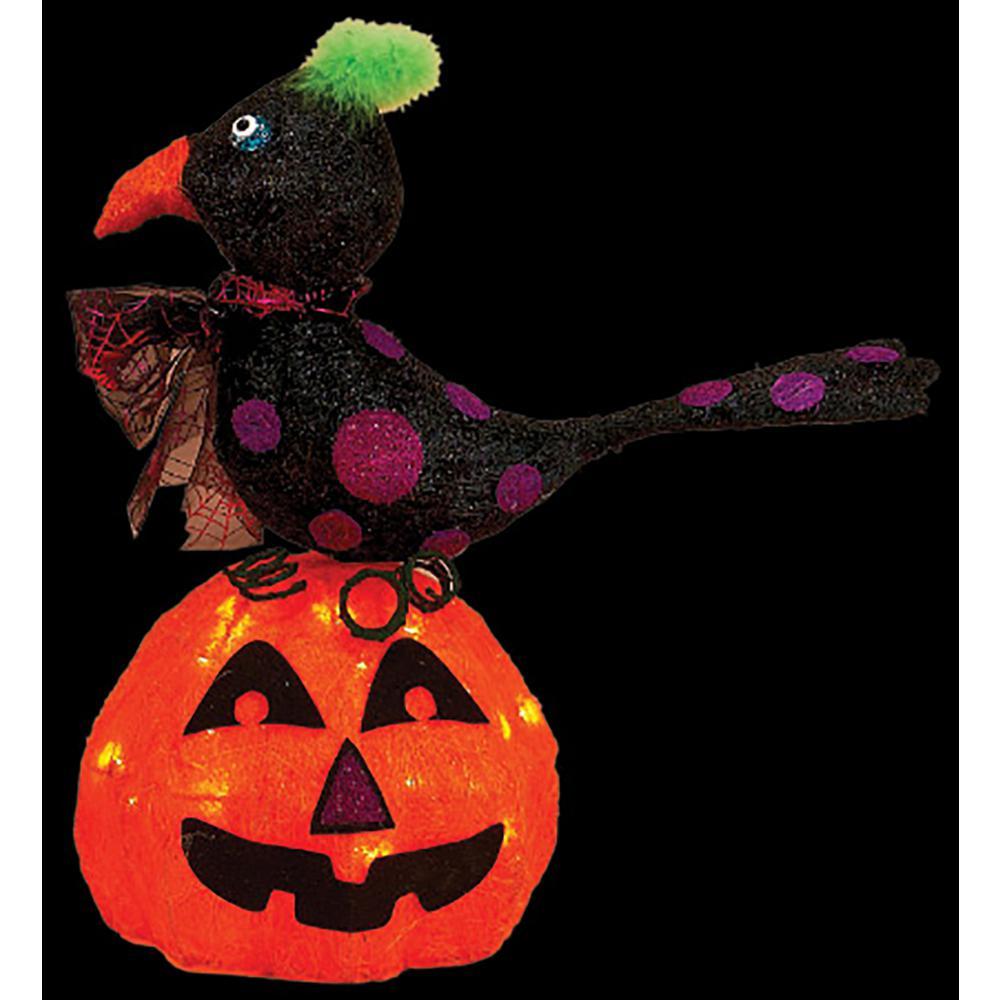 Sisal Lighted Pumpkin And Crow 8915
