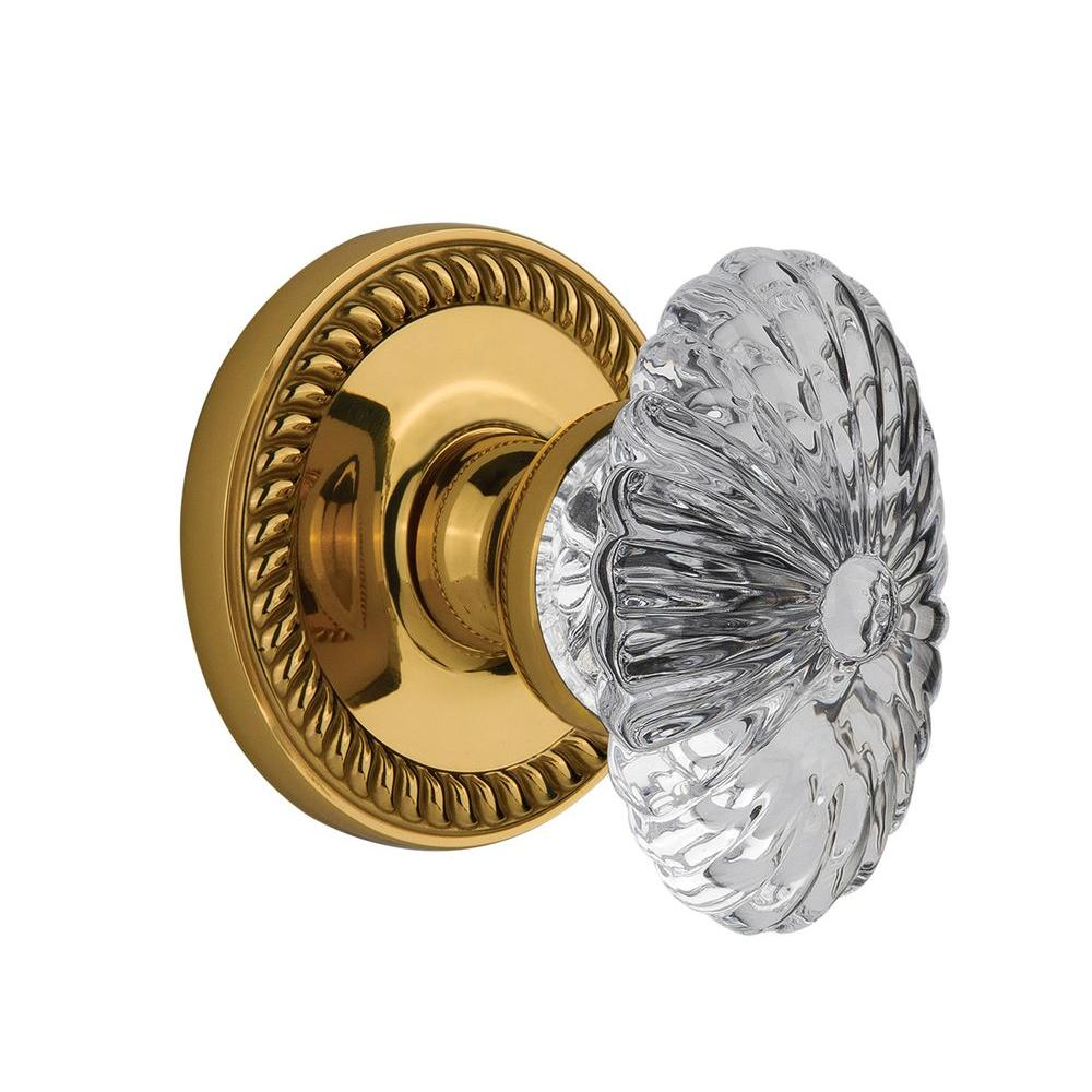 null Grandeur Lifetime Brass Privacy Newport with Burgundy Crystal Knob