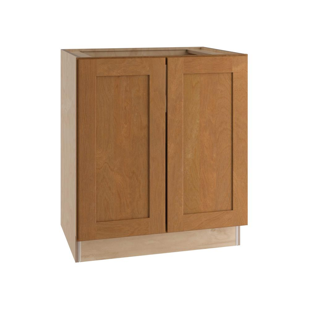 Home Decorators Collection Hargrove Assembled 36x34.5x21 in. Double Door Base Vanity Cabinet in Cinnamon