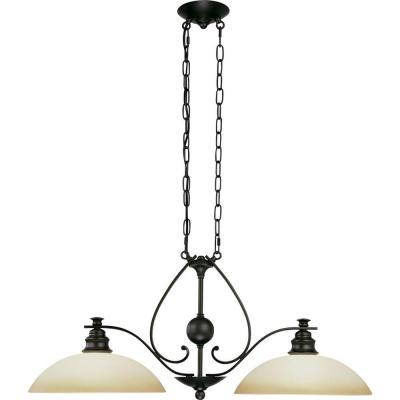 Rainier 2-Light Foundry Bronze Interior Chandelier