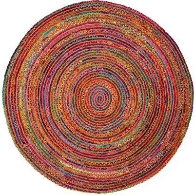 Cape Cod Red/Multi 4 ft. x 4 ft. Round Area Rug