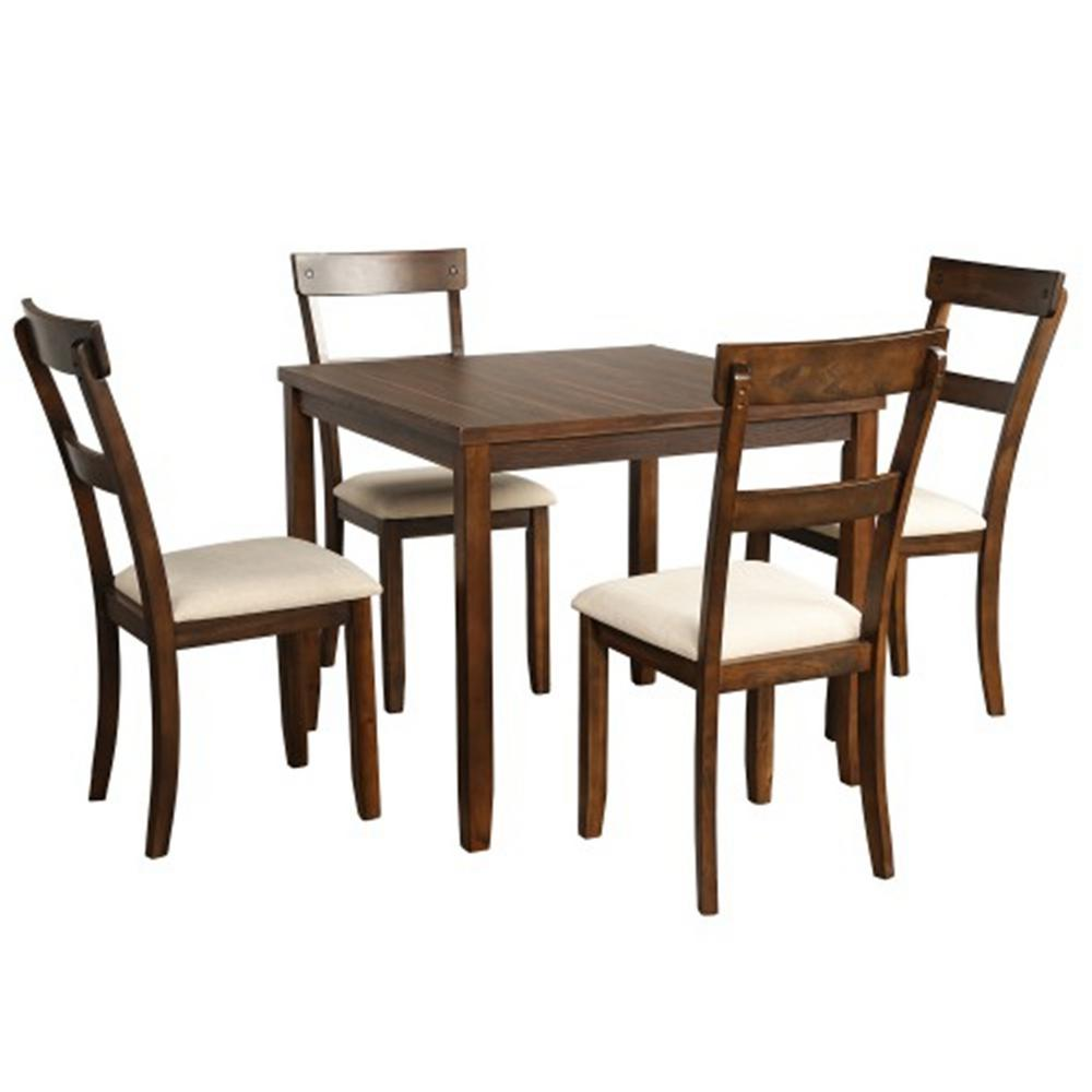 Boyel Living Trexm 5 Piece American Walnut Dining Table Set Industrial Wooden Kitchen Table And 4 Chairs For Dining Room Tr St000010aae The Home Depot