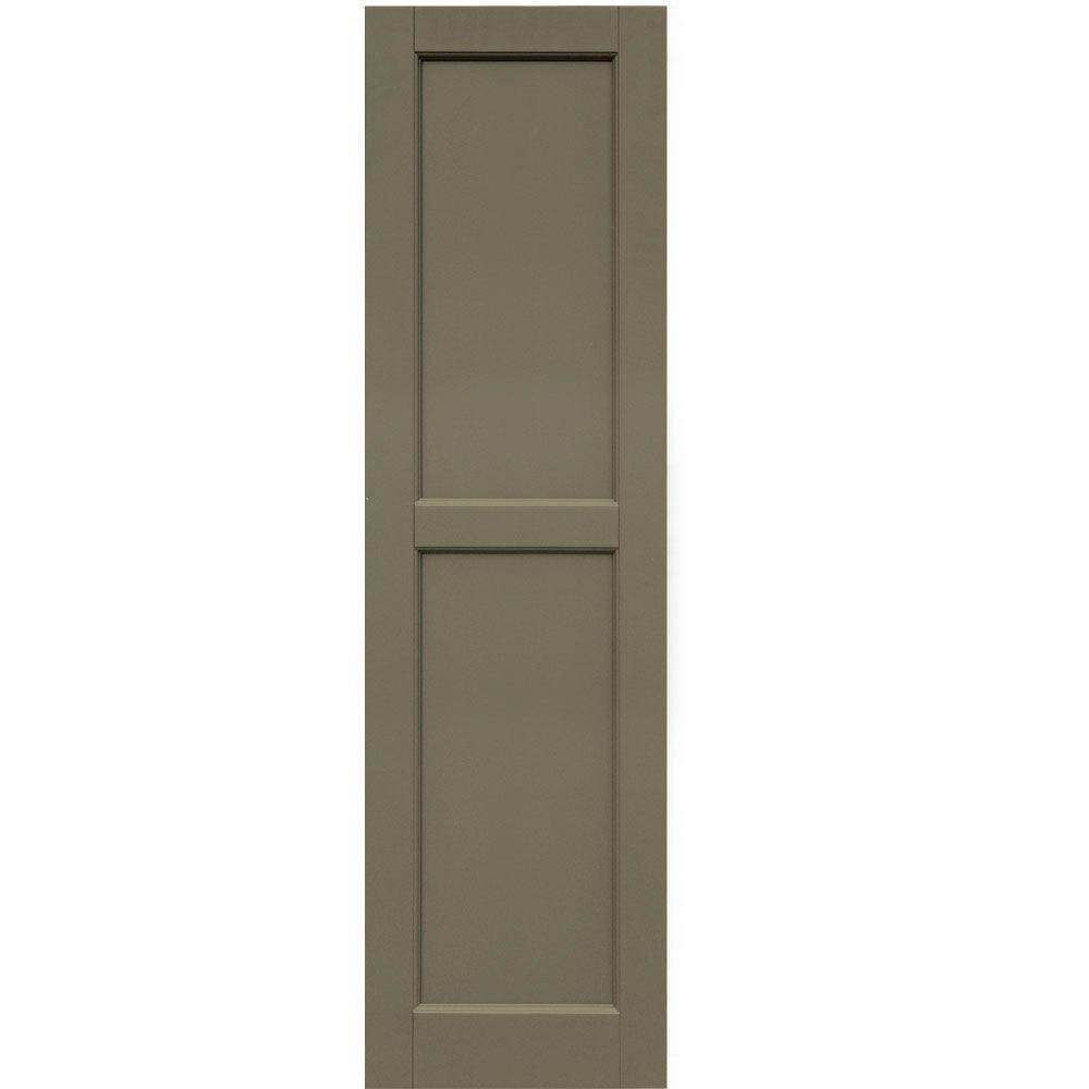 Winworks Wood Composite 15 in. x 54 in. Contemporary Flat Panel Shutters Pair #660 Weathered Shingle