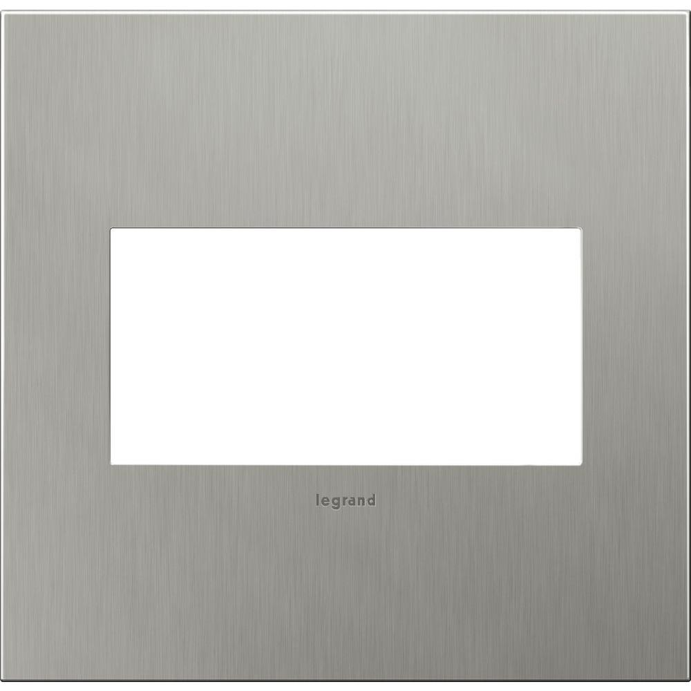 Legrand adorne 2-Gang 2 Module Wall Plate - Brushed Stainless Steel