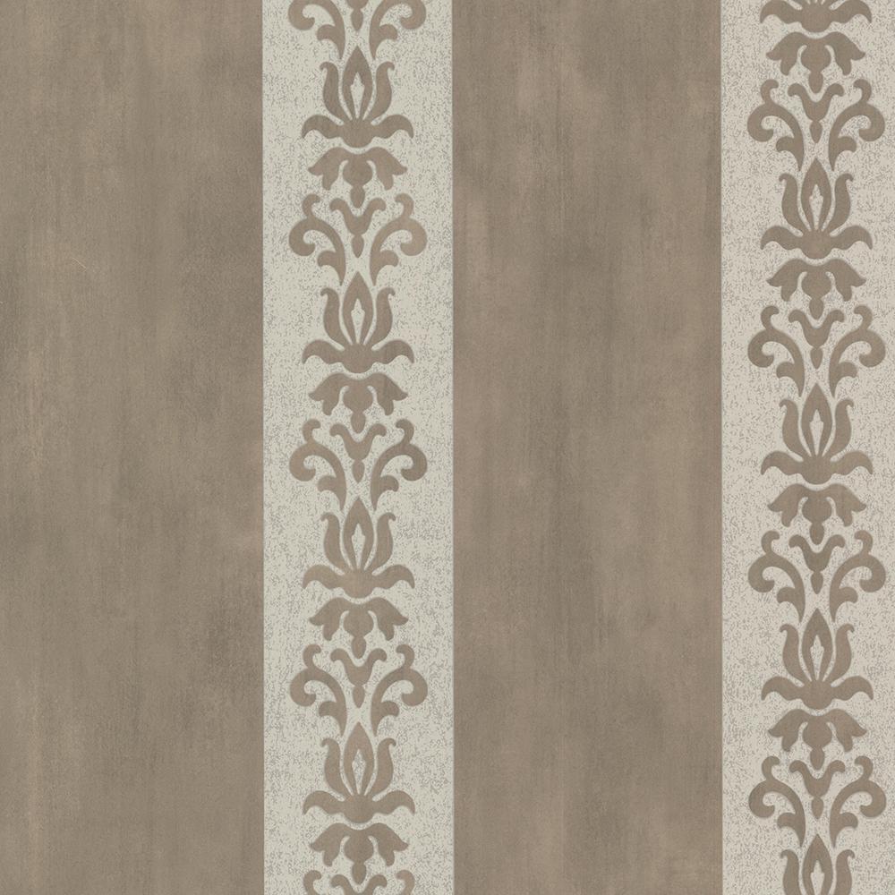 Parisi Pewter Embellished Damask Stripe Strippable Wallpaper Covers 56.4 sq. ft.