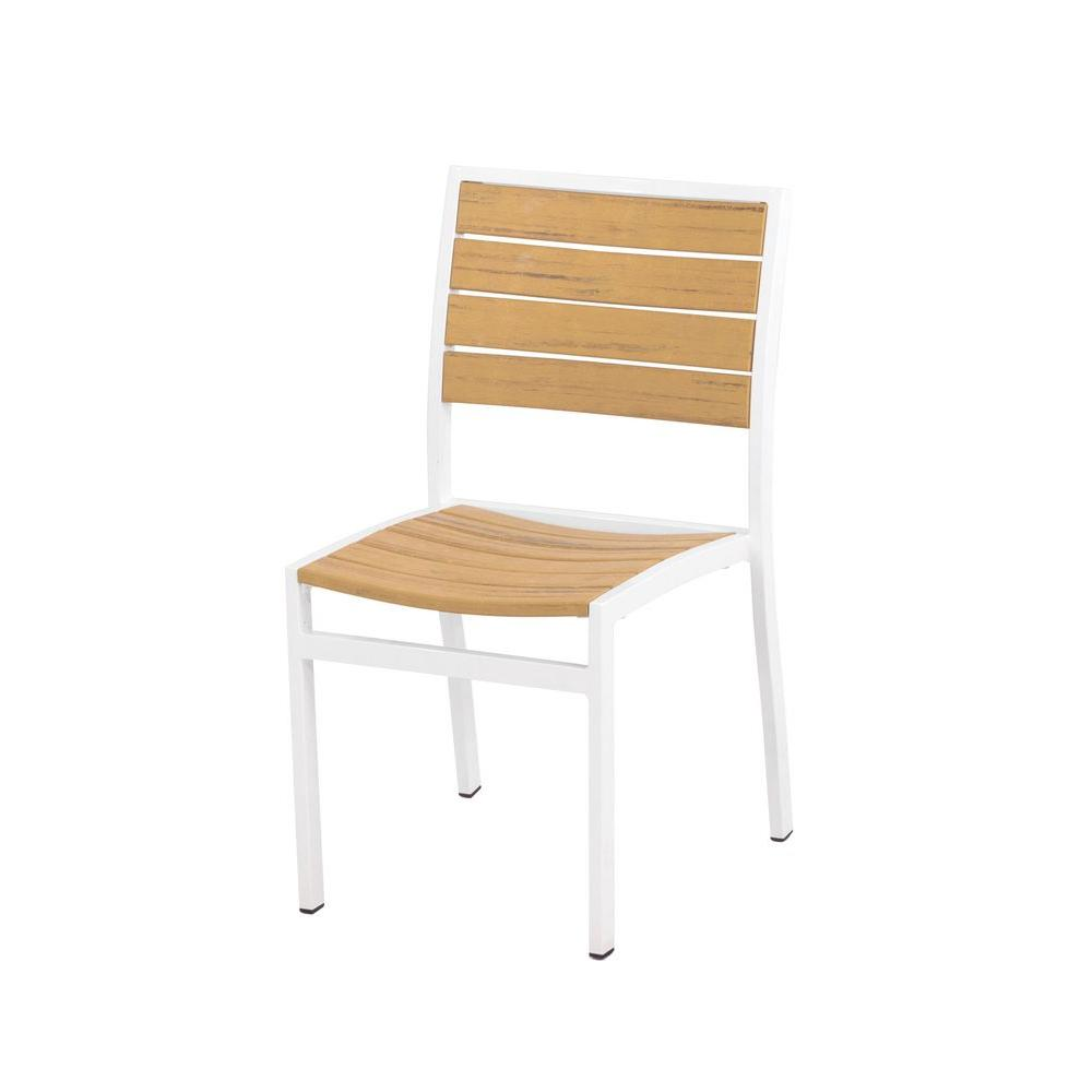 Euro Satin White All-Weather Plastic/Sling Outdoor Dining Side Chair in