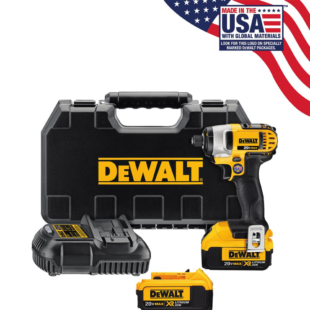 20-Volt MAX Lithium-Ion Cordless 1/4 in. Impact Driver Kit with (2)