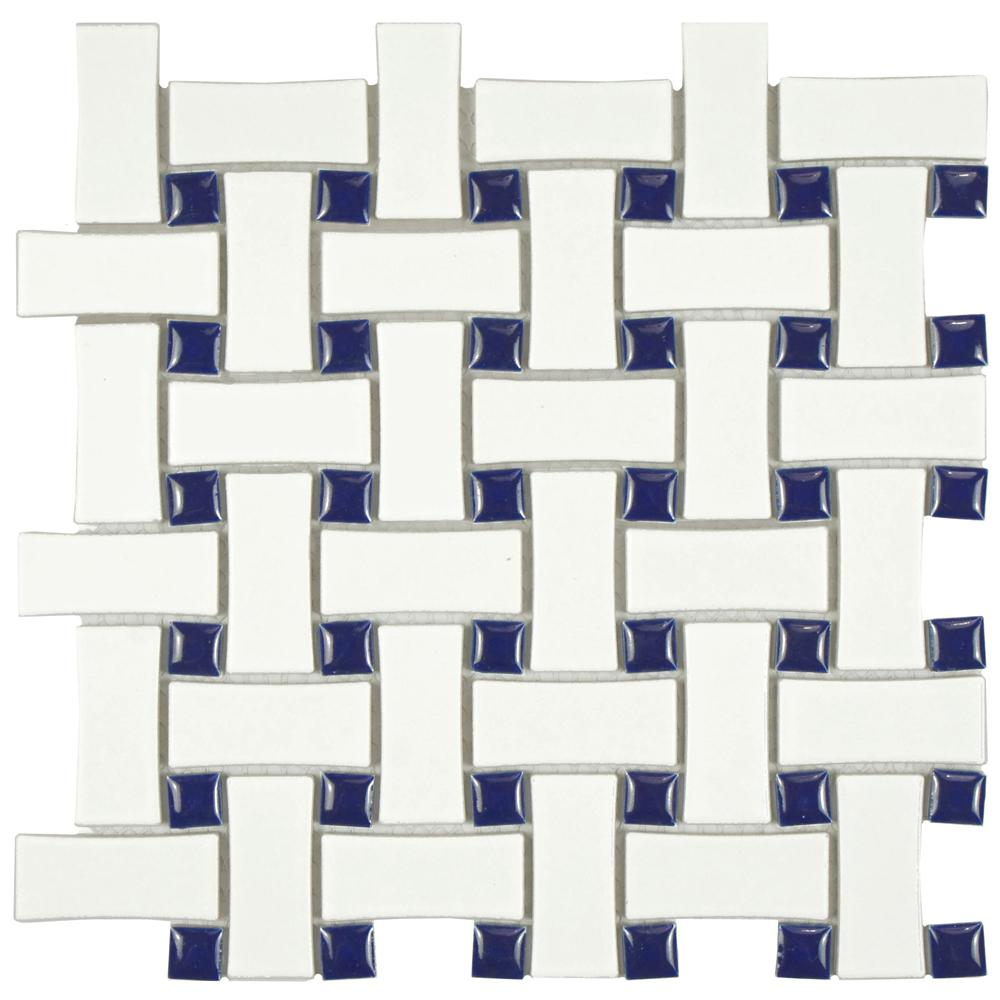 Merola Tile Metro Basket Weave White and Cobalt 10-1/2 in. x 10-1/2 ...