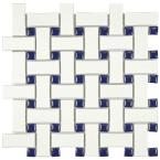 Metro Basket Weave White and Cobalt 10-1/2 in. x 10-1/2 in. x 5 mm Porcelain Mosaic Tile