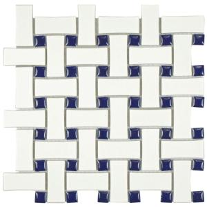 metro basket weave white and cobalt in x 10